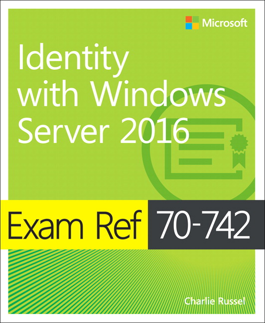 Image of the book Identity with Windows Server 2016, this is included with the training course at Logitrain